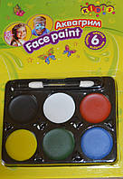Аквагрим, краски для лица 6 цветов детская косметика
