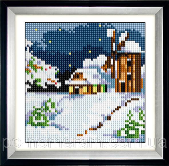 Алмазная вышивка Dream Art Зимняя мельница (квадратные камни, полная зашивка) (DA-30484) 15 х 15 см (Без подрамника)