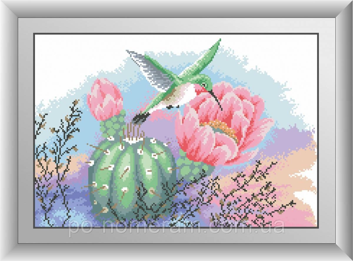 Алмазная живопись Dream Art Колибри и кактус (квадратные камни, полная зашивка) (DA-30489) 34 х 49 см (Без подрамника)