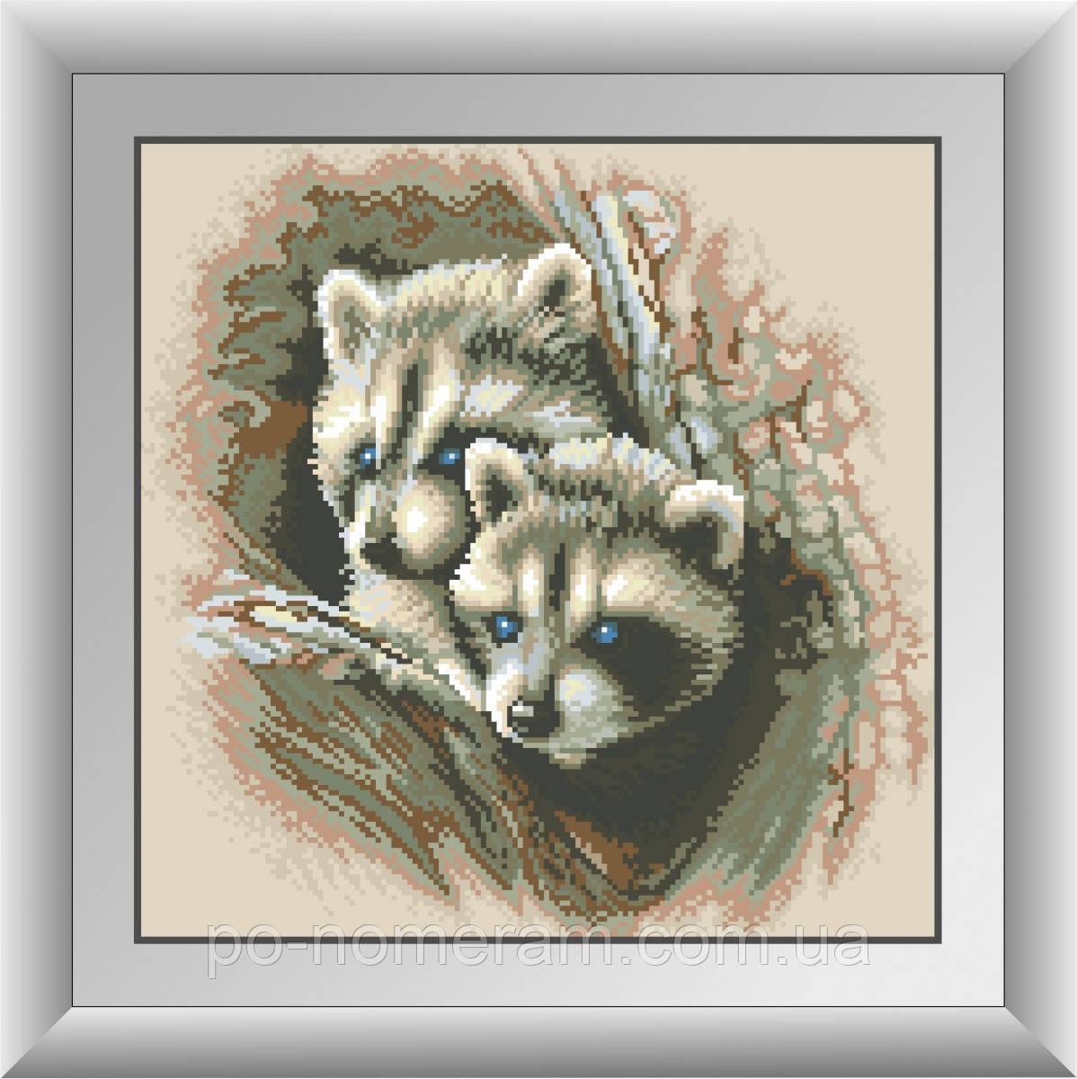 Картина из страз Dream Art Детеныши енота (квадратные камни, полная зашивка) (DA-30490) 38 х 38 см (Без подрамника)