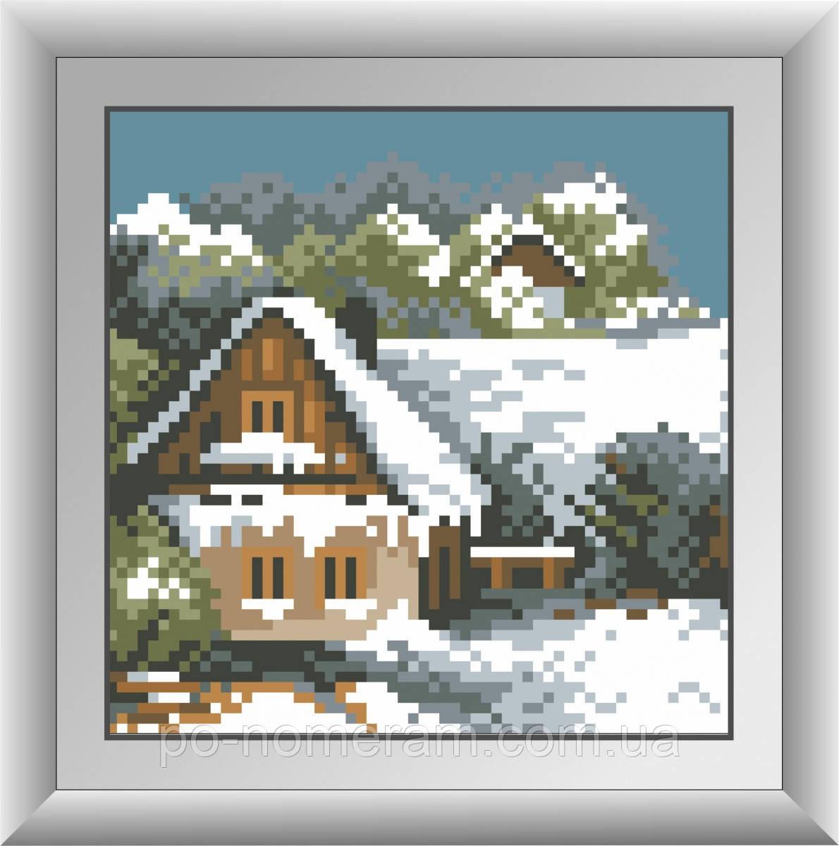 Алмазная мозаика Dream Art Зимний домик (квадратные камни, полная зашивка) (DA-30487) 15 х 15 см (Без подрамника)