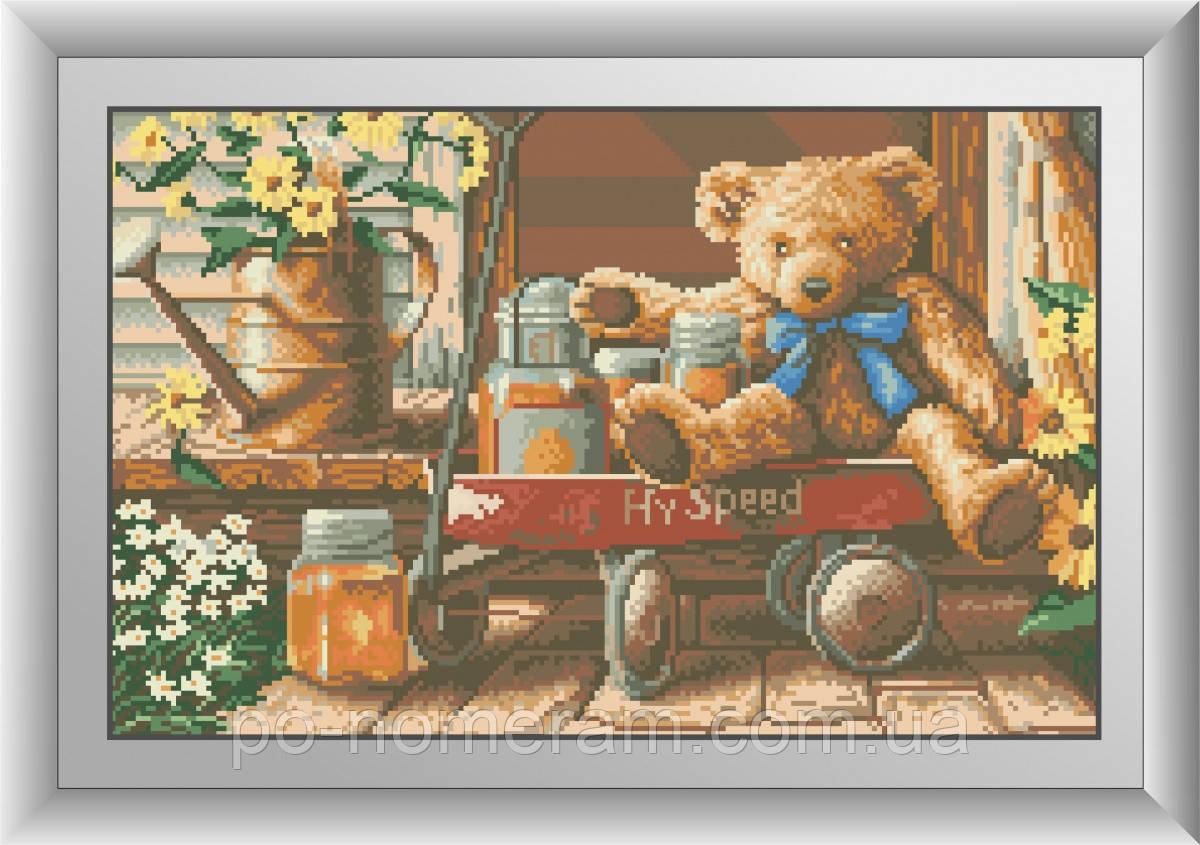 Картина из мозаики Dream Art Медвежонок с медом (квадратные камни, полная зашивка) (DA-30494) 31 х 49 см (Без подрамника)