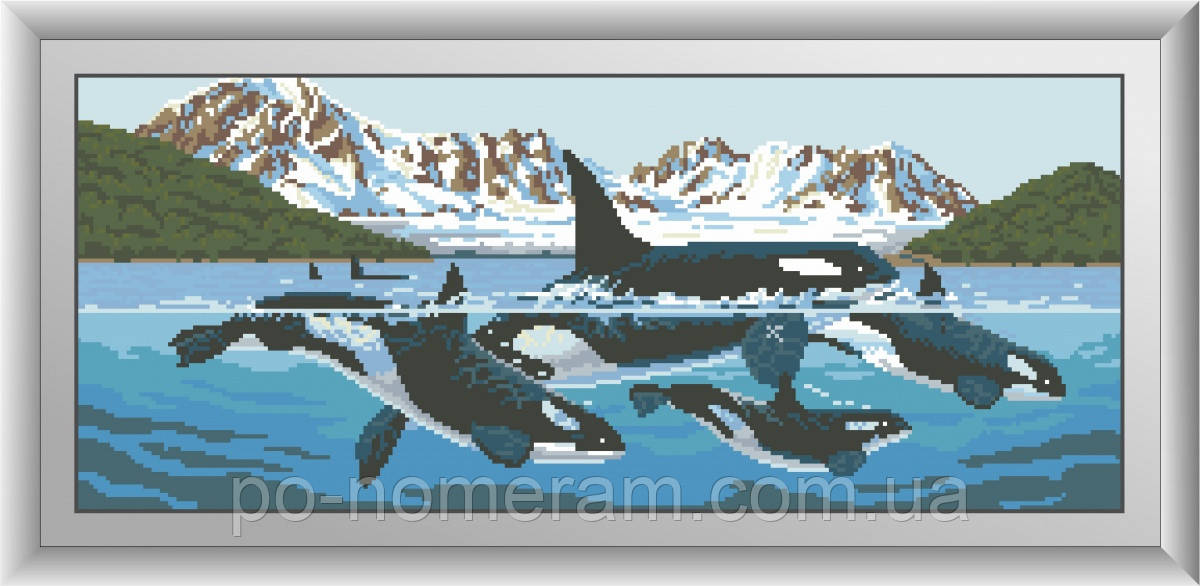 Алмазная мозаика Dream Art Семья касаток (квадратные камни, полная зашивка) (DA-30497) 26 х 63 см (Без подрамника)