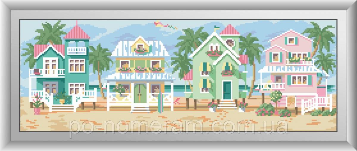Картина из страз Dream Art Морские коттеджи (квадратные камни, полная зашивка) (DA-30500) 22 х 62 см (Без подрамника)
