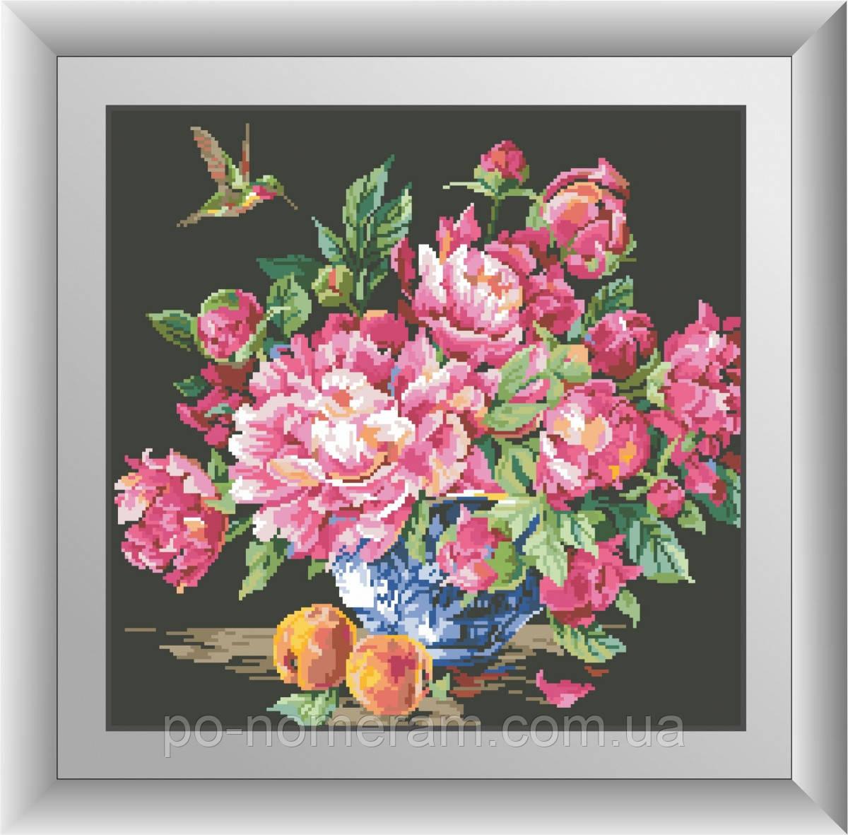 Алмазная живопись Dream Art Колибри и пионы (квадратные камни, полная зашивка) (DA-30509) 45 х 46 см (Без подрамника)