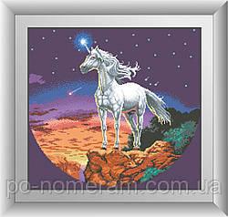 Картина из страз Dream Art Таинственный единорог (квадратные камни, полная зашивка) (DA-30510) 50 х 53 см (Без подрамника)