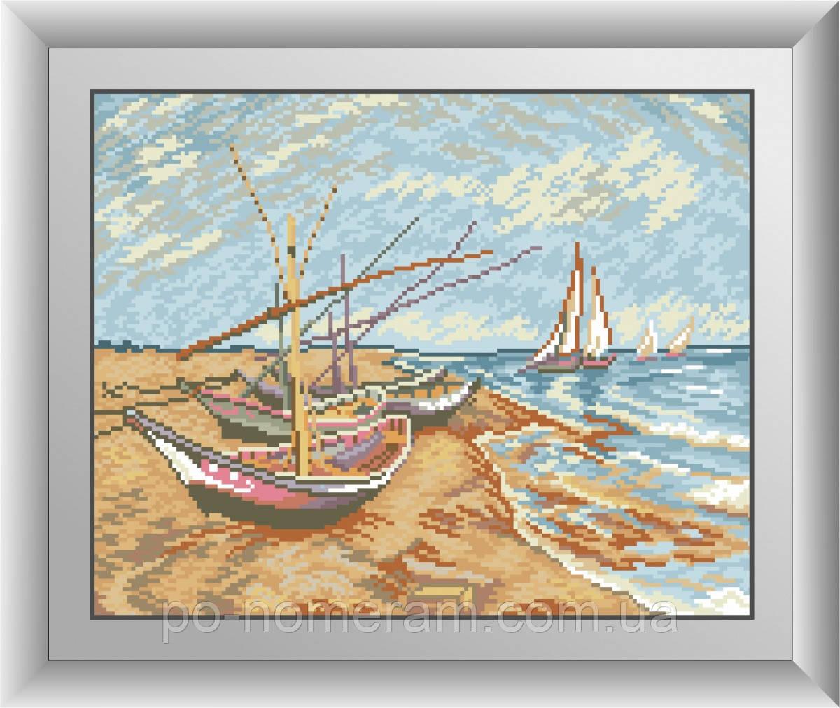 Алмазная вышивка Dream Art Рыболовные лодки на берегу Сент-Мари (квадратные камни, полная зашивка) (DA-30515) 32 х 40 см (Без подрамника)