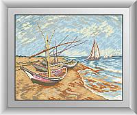 Алмазная мозаика Dream Art Рыболовные лодки на берегу Сент-Мари (квадратные камни, полная зашивка) (DA-30515) 32 х 40 см