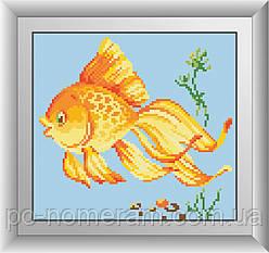 Картина из страз Dream Art Золотая рыбка (квадратные камни, полная зашивка) (DA-30520) 22 х 24 см (Без подрамника)