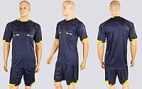 Форма футбольного судьи CO-1270-BK (полиэстер, р-р L-XXL, черный, шорты черные)