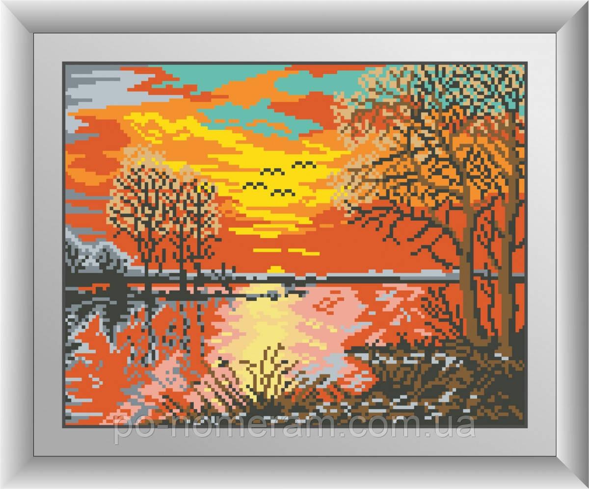 Картина из мозаики Dream Art Закат на реке (квадратные камни, полная зашивка) (DA-30544) 26 х 33 см (Без подрамника)