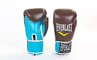 Перчатки боксерские PU на липучке EVERLAST BO-5032 (р-р 8-10oz, коричневый (кофе)-голубой)