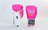 Перчатки боксерские PU на липучке EVERLAST BO-5035 (р-р 8-10oz, розовый-белый)