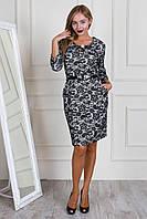 Модное принтированное платье с поясом