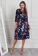 Синие платье в модный цветочный принт