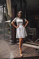 Женское платье, турецкий рифлёный неопрен с сеточкой, р-р С; М; Л (белый)