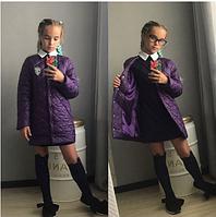 Куртка длинная для девочки,подросток,10-13 лет,сиреневая