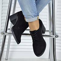 Туфлі (Черные закрытые туфли из натуральной замши на удобном каблуке)