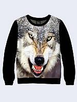 Женская толстовка Волк черный рукав