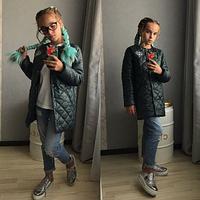 Куртка длинная для девочки,подросток,10-13 лет,хаки