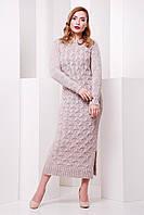 Теплое бежевое платье SOTI FashionUp 42-48 размеры