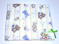 Фланелевые (байковые) пеленки (белая зайчики с котиками)