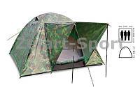 Палатка универсальная 3-х местная с тентом и тамбуром SY-034 (р-р 2х2х1,35м, PL, камуфляж)