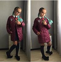 Куртка длинная для девочки,подросток,10-13 лет,марсала