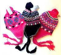 Детская шапка с помпоном и косами для девочек 0-2 года