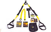 Петли подвесные тренировочные TRX  PACK P2 FI-3724-03 (функц.петли,дверное креп, сумка,черный-желтый)
