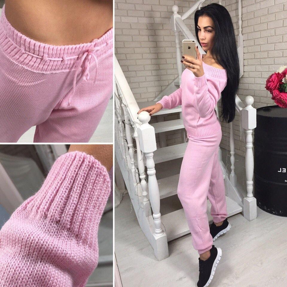 65be6e5e3aa8 Теплый женский спортивный костюм мелкая машинная вязка, цвет розовый -  Модный гардероб в Харькове