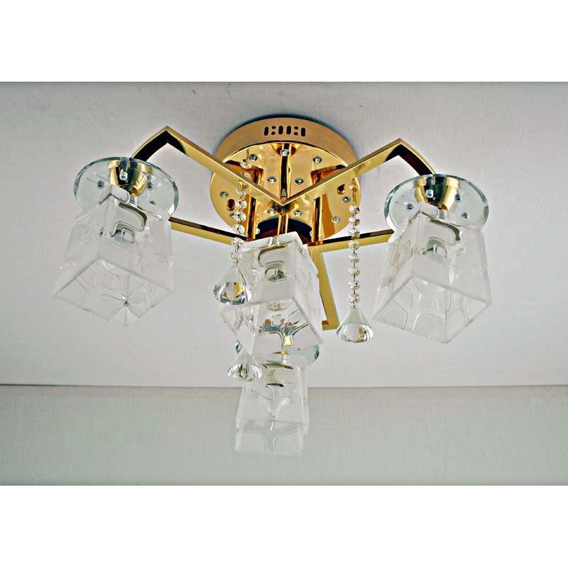 Люстра золотая на четыре лампы со светодиодами и пультом управления SW-12163/3+1 FGD