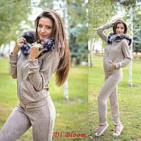 Теплый спортивный костюм ангора с люрексом, мех натуральный песец. Цвет бежевый