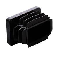 Пластиковая заглушка для профильной трубы 25Х40 мм плоская черная