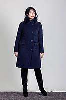Зимнее женское пальто большого размера с натуральным мехом песца