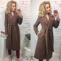 Классическое удлиненное женское кашемировое пальто на запах с карманами, цвет шоколад
