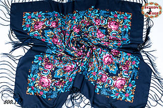 Павлопосадская тёмно-синяя шаль Непревзойдённая роспись, фото 2