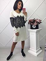 Платье-туника из ангоры с французским кружевом