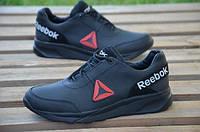 Мужские кожаные кроссовки Reebok 12184 подростковые черные