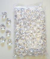 Камни кристаллы прозрачные декоративные пластик. В упаковке 70 шт.