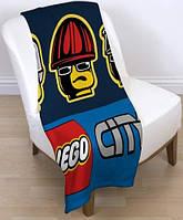 Детский флисовый плед 120х150 LEGO City Лего для мальчика