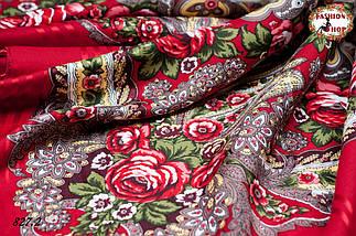 Красная павлопосадская красная шаль Вальс цветов, фото 3