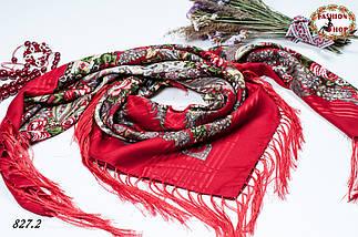 Красная павлопосадская красная шаль Вальс цветов, фото 2