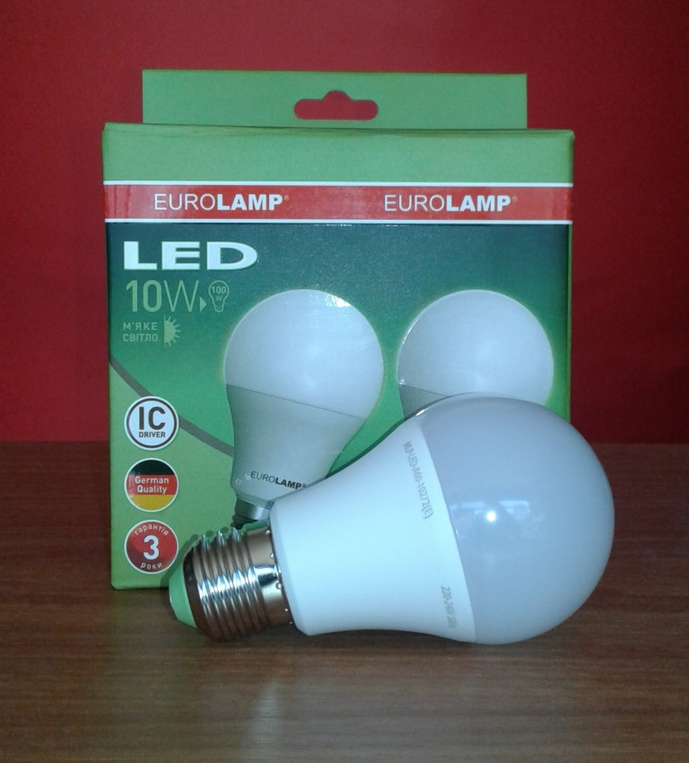 Лампочка LED 10Вт E27 Набор 1+1 теплый свет 3000К