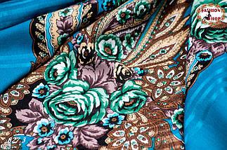 Павлопосадская бирюзовая шаль Вальс цветов, фото 2