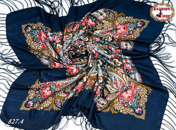 Тёмно-синяя павлопосадская шаль Вальс цветов, фото 2