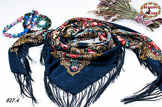Тёмно-синяя павлопосадская шаль Вальс цветов, фото 3