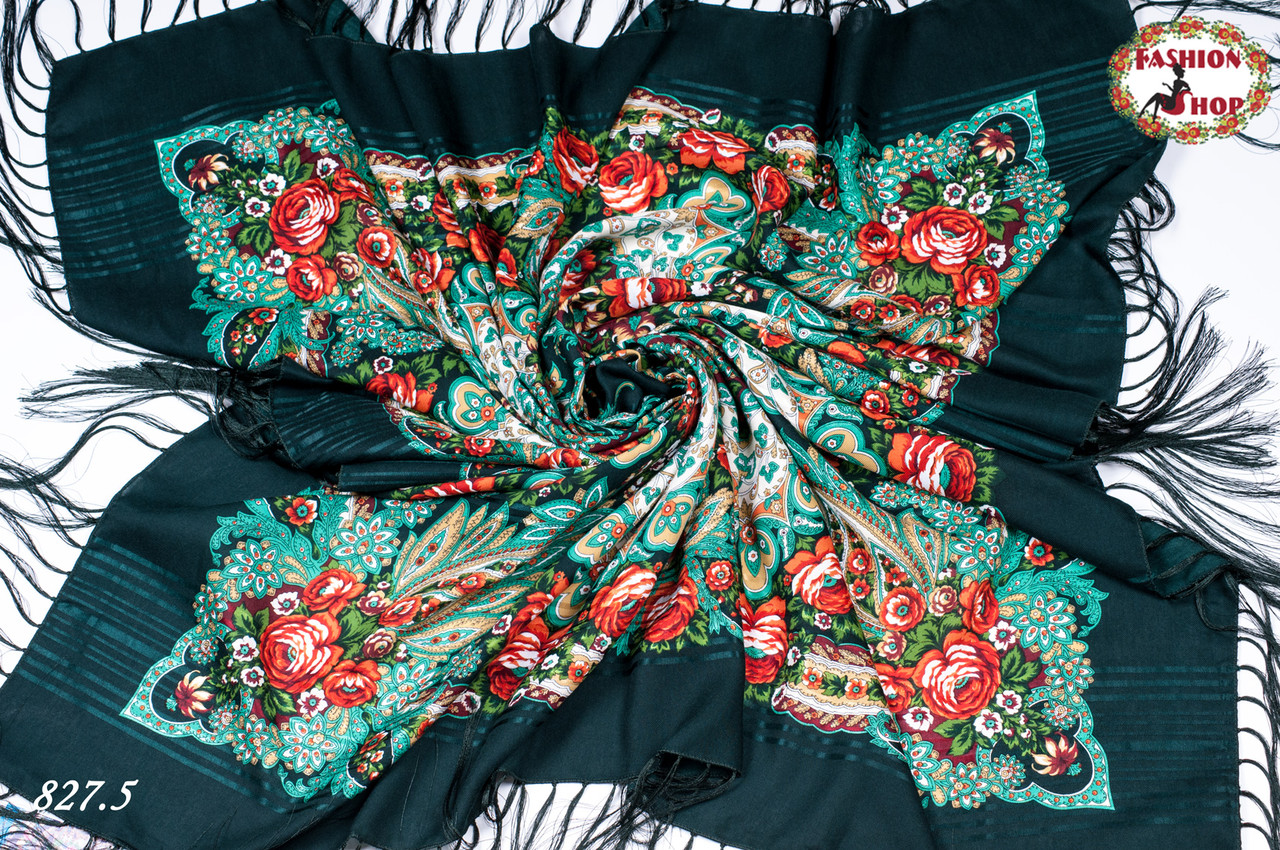 Зелёная павлопосадская шаль Вальс цветов