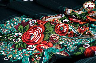 Зелёная павлопосадская шаль Вальс цветов, фото 2