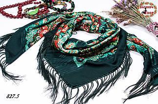 Зелёная павлопосадская шаль Вальс цветов, фото 3